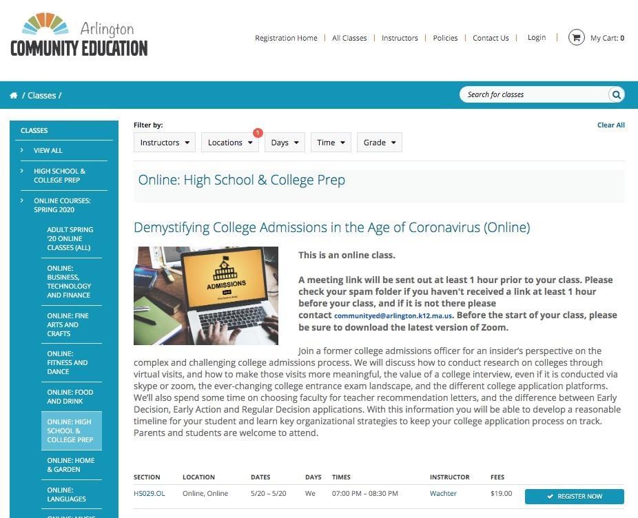 Arlington Community Education Registration Site Image